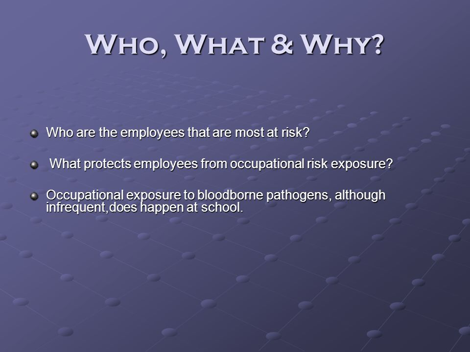 Who, What & Why Who are the employees that are most at risk