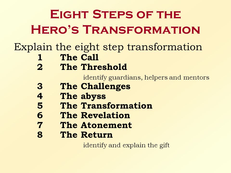 Eight Steps of the Hero's Transformation