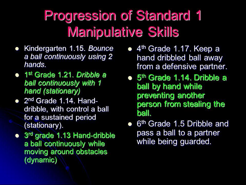 Progression of Standard 1 Manipulative Skills