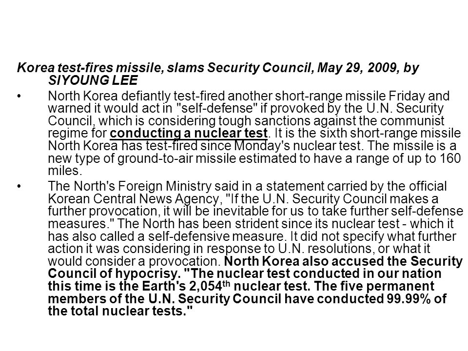 Korea test-fires missile, slams Security Council, May 29, 2009, by SIYOUNG LEE