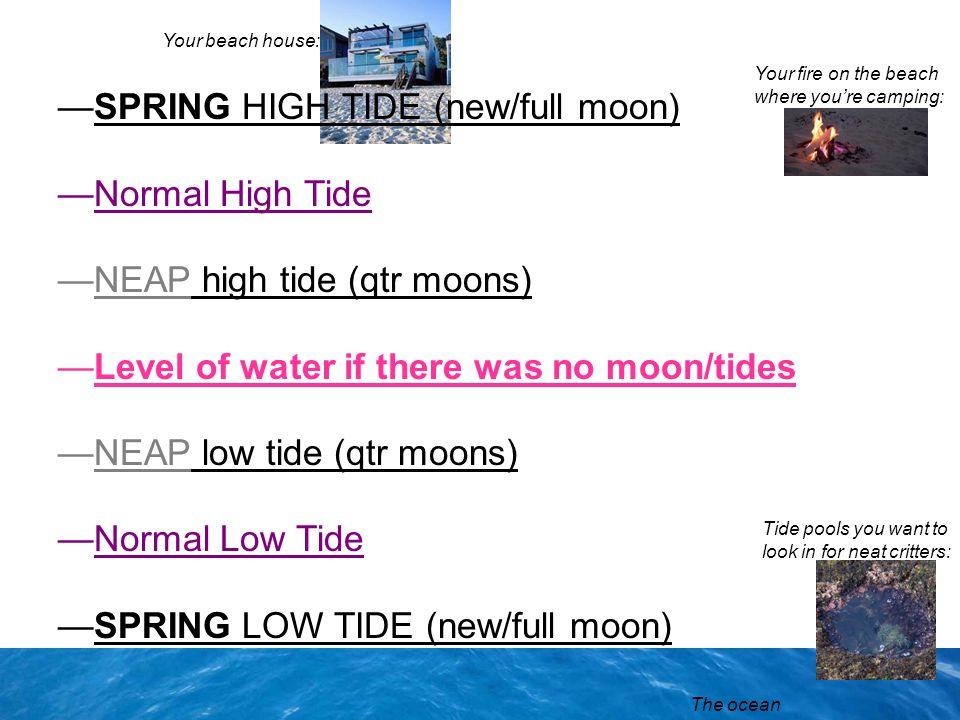 SPRING HIGH TIDE (new/full moon) Normal High Tide