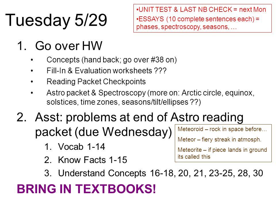Tuesday 5/29 UNIT TEST & LAST NB CHECK = next Mon. ESSAYS (10 complete sentences each) = phases, spectroscopy, seasons, …