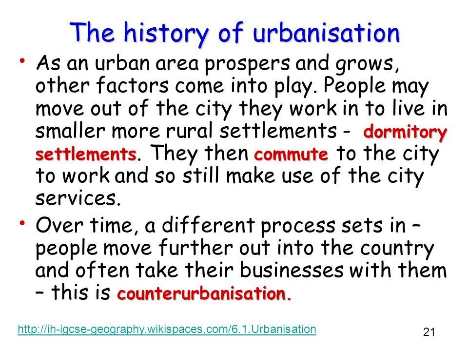 The history of urbanisation