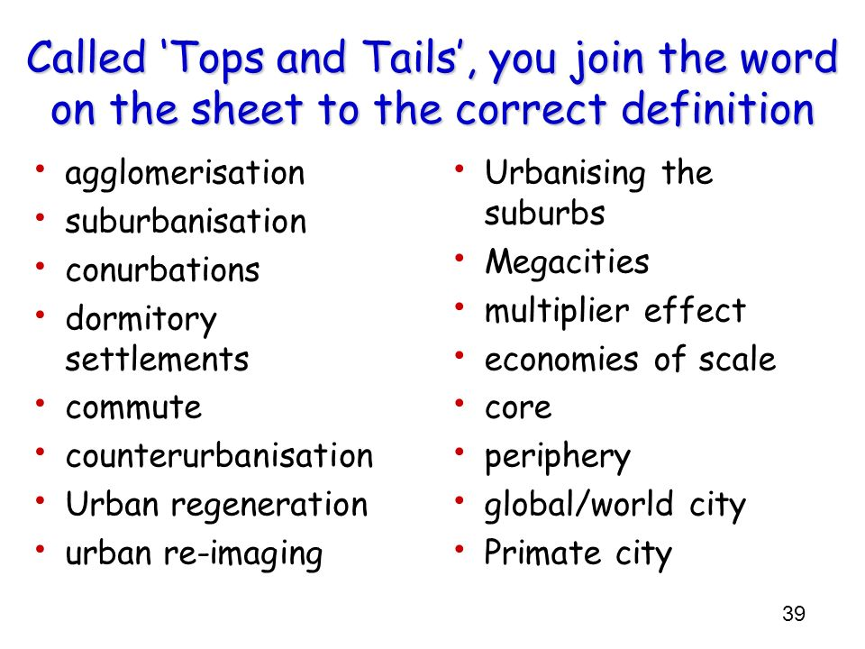 Called 'Tops and Tails', you join the word on the sheet to the correct definition