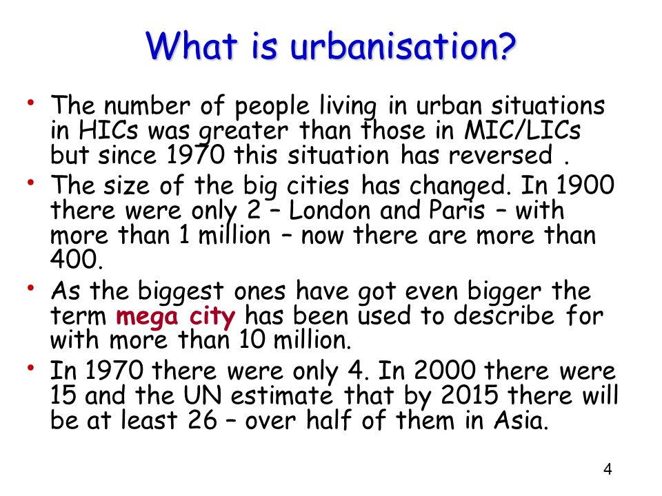 What is urbanisation