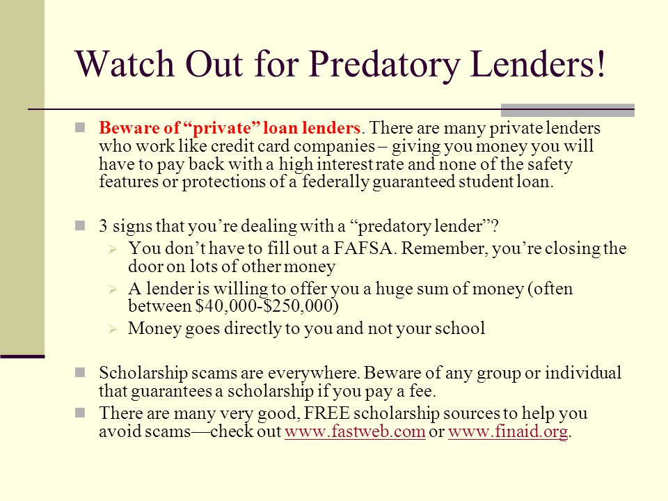 Watch Out for Predatory Lenders!