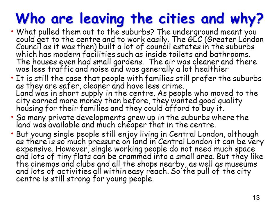 Who are leaving the cities and why