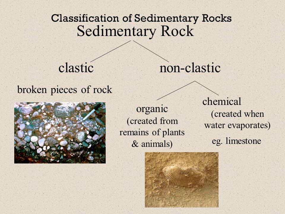 Sedimentary Rock clastic non-clastic