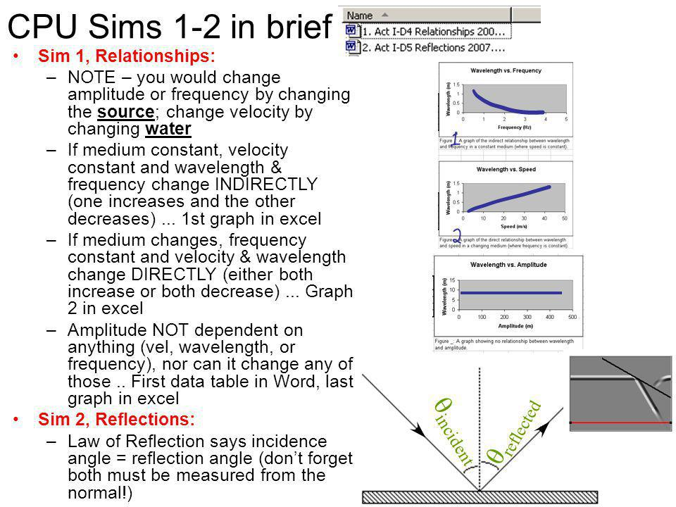CPU Sims 1-2 in brief qreflected qincident Sim 1, Relationships: