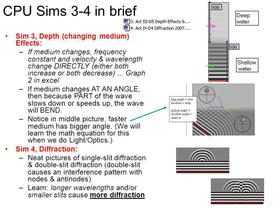 CPU Sims 3-4 in brief Sim 3, Depth (changing medium) Effects: