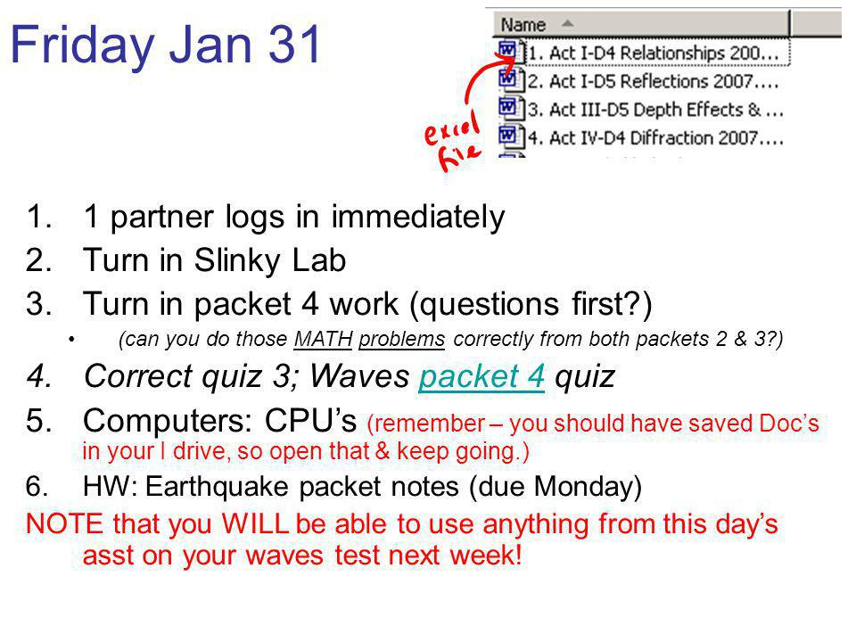 Friday Jan 31 1 partner logs in immediately Turn in Slinky Lab