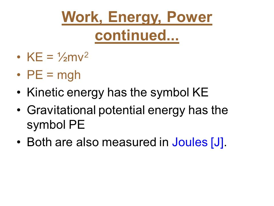 Work, Energy, Power continued...