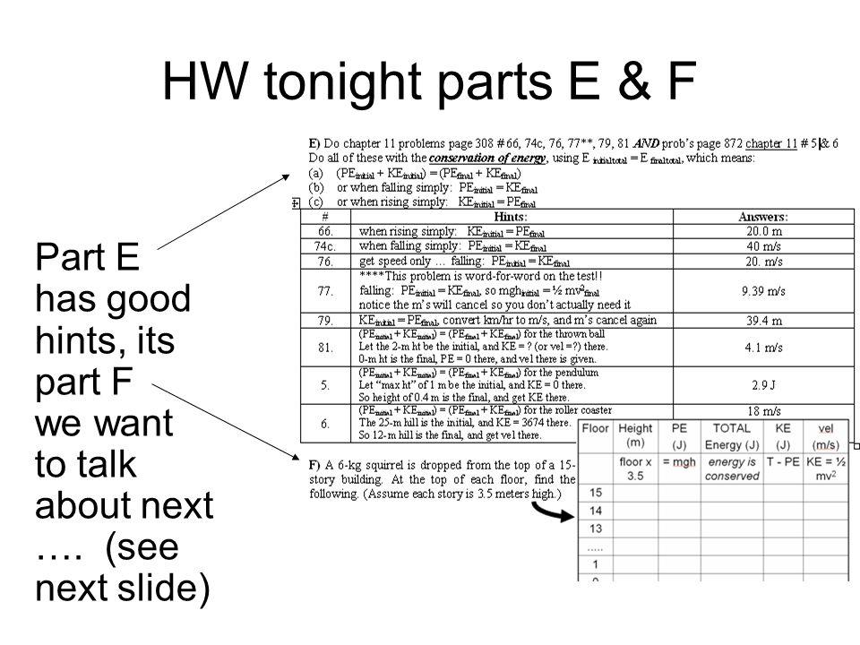 HW tonight parts E & F Part E has good hints, its part F we want
