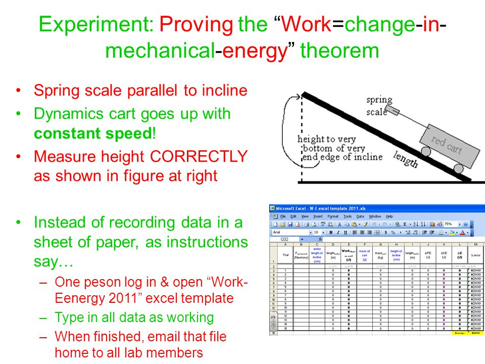 Experiment: Proving the Work=change-in-mechanical-energy theorem