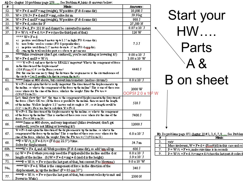 Start your HW…. Parts A & B on sheet