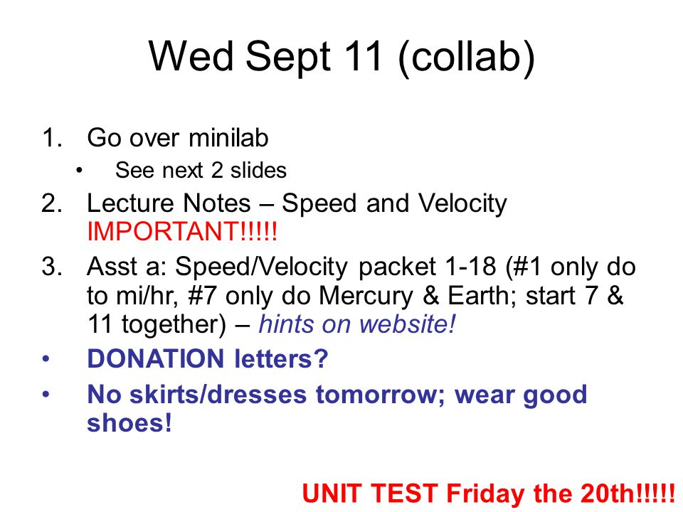 Wed Sept 11 (collab) Go over minilab