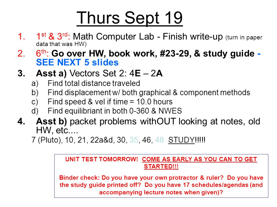 UNIT TEST TOMORROW! COME AS EARLY AS YOU CAN TO GET STARTED!!!