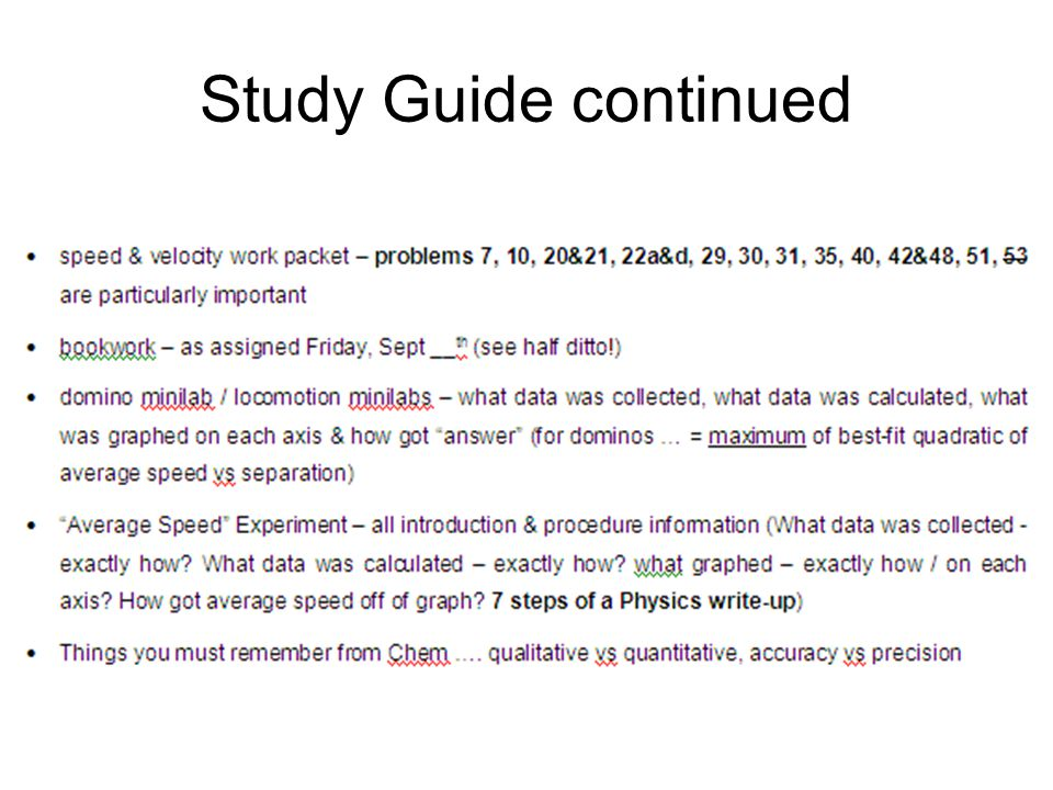 Study Guide continued