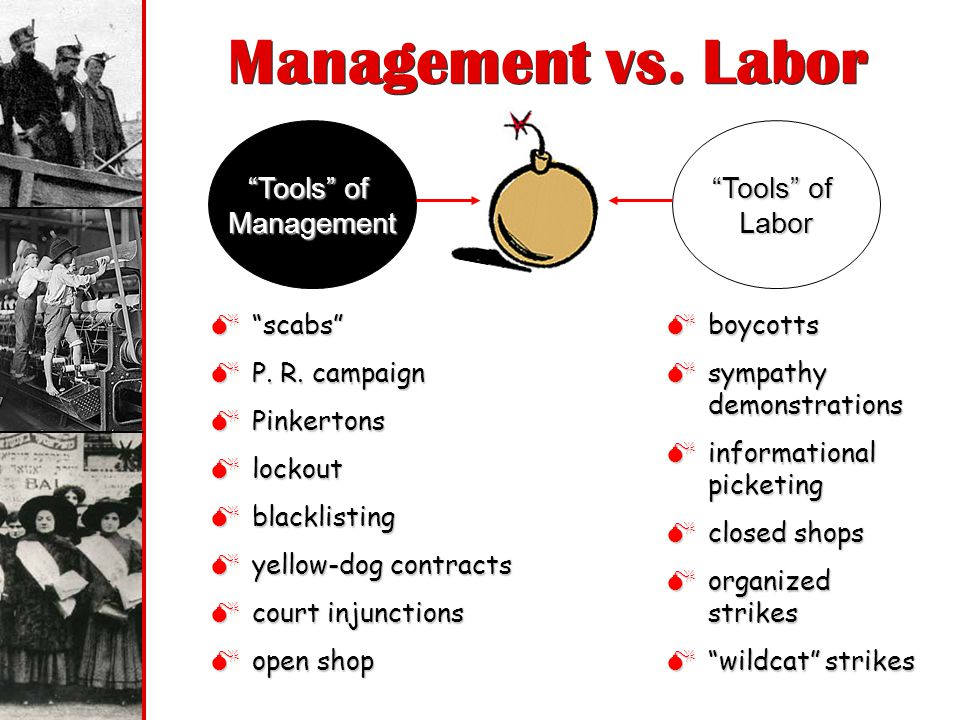 Management vs. Labor Tools of Management Tools of Labor scabs
