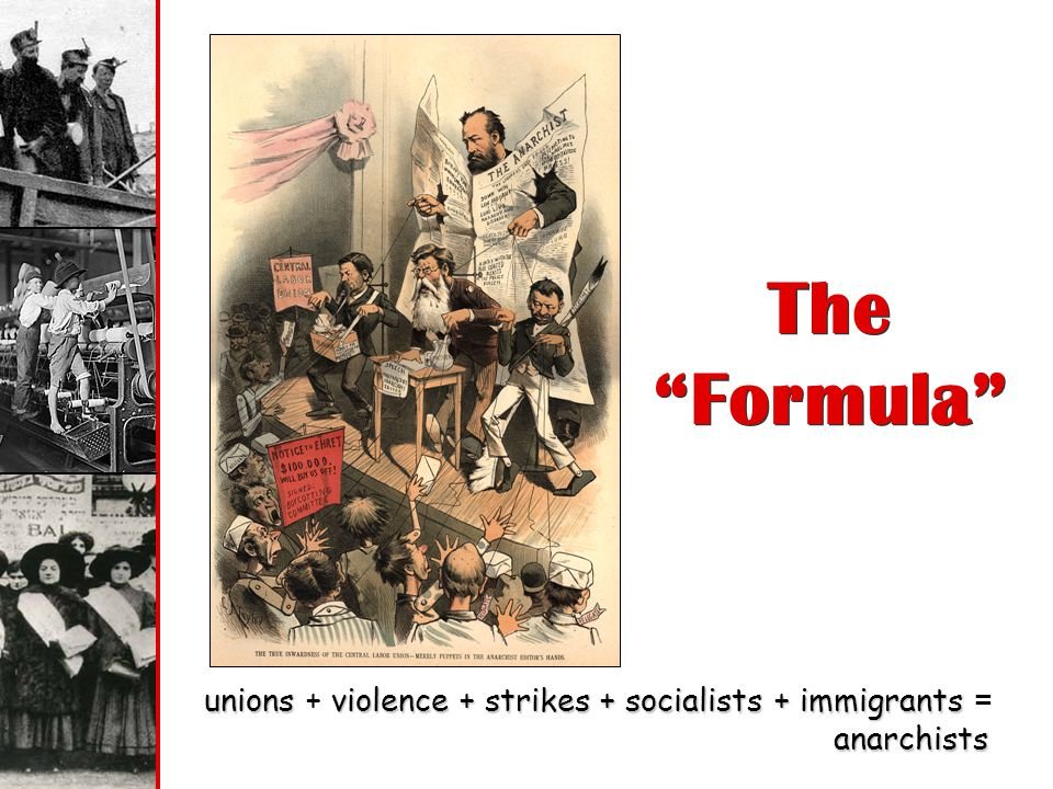 The Formula unions + violence + strikes + socialists + immigrants = anarchists.