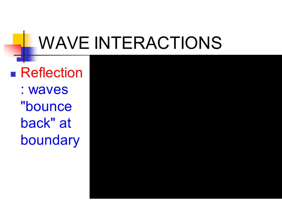 WAVE INTERACTIONS Reflection: waves bounce back at boundary