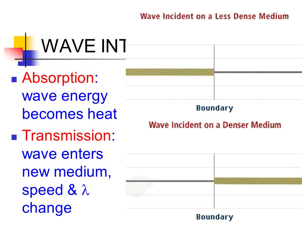 WAVE INTERACTIONS Absorption: wave energy becomes heat