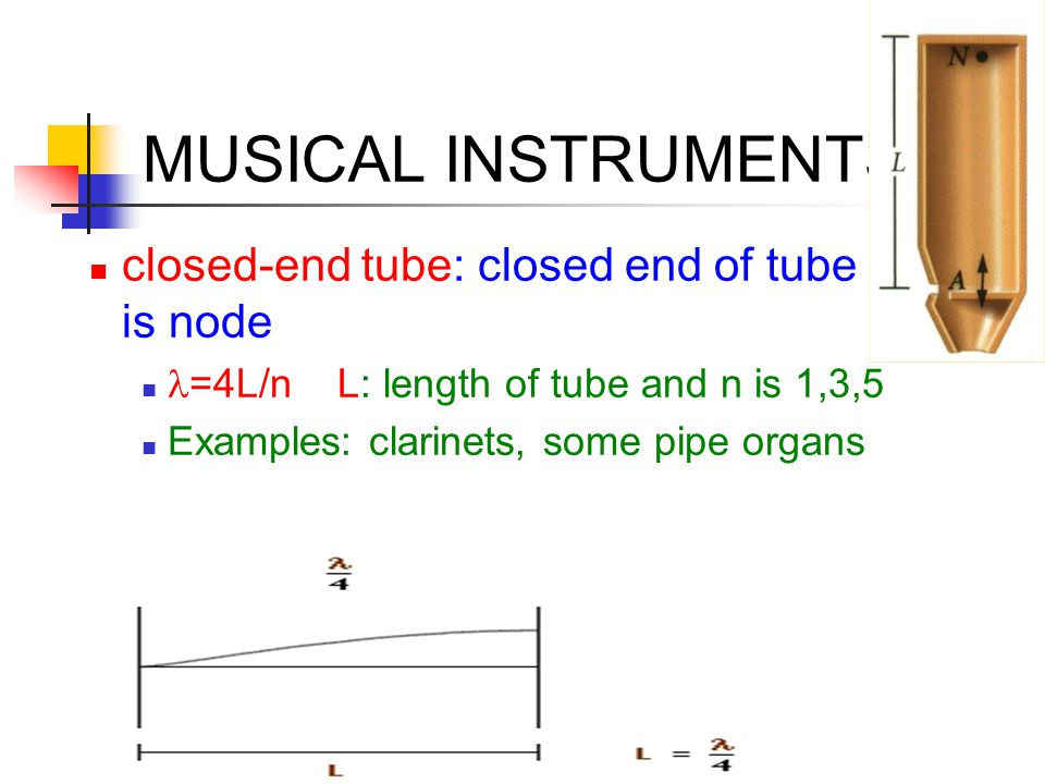 MUSICAL INSTRUMENTS closed-end tube: closed end of tube is node