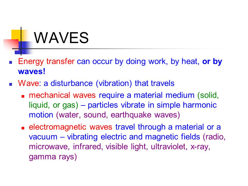 WAVES Energy transfer can occur by doing work, by heat, or by waves!