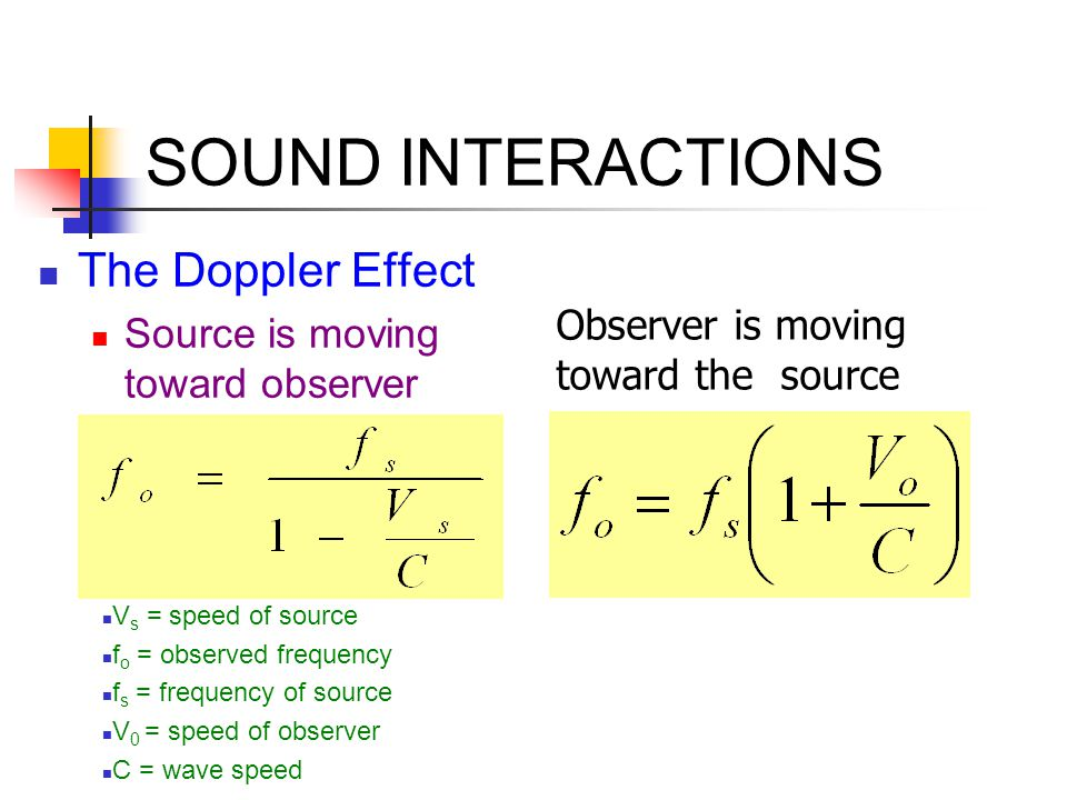 SOUND INTERACTIONS The Doppler Effect Source is moving toward observer