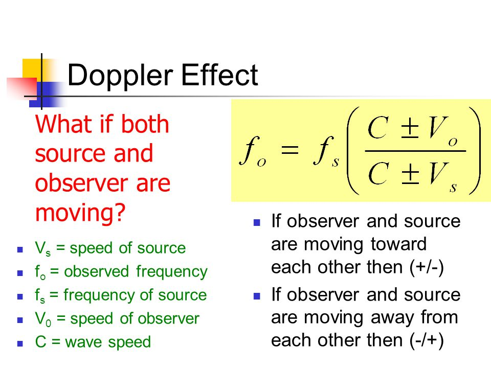 Doppler Effect What if both source and observer are moving