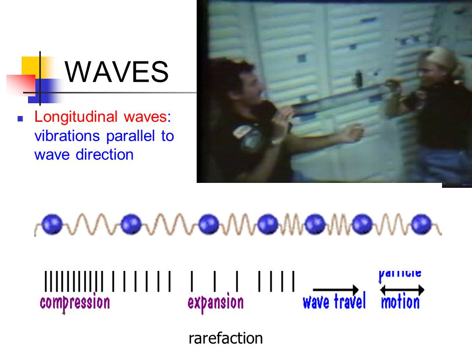 WAVES Longitudinal waves: vibrations parallel to wave direction