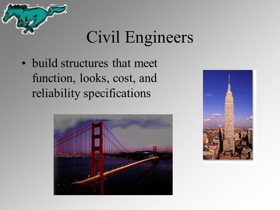 Civil Engineers build structures that meet function, looks, cost, and reliability specifications.