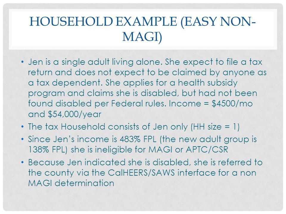 Household Example (Easy Non-magi)