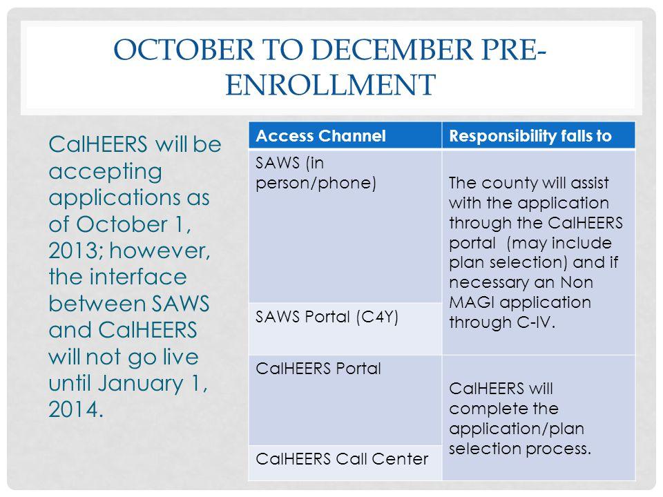 October to December pre-enrollment