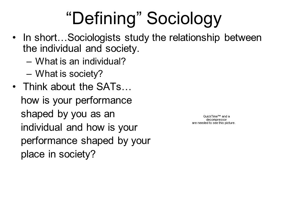 Defining Sociology In short…Sociologists study the relationship between the individual and society.