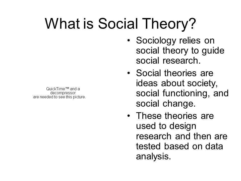 What is Social Theory Sociology relies on social theory to guide social research.
