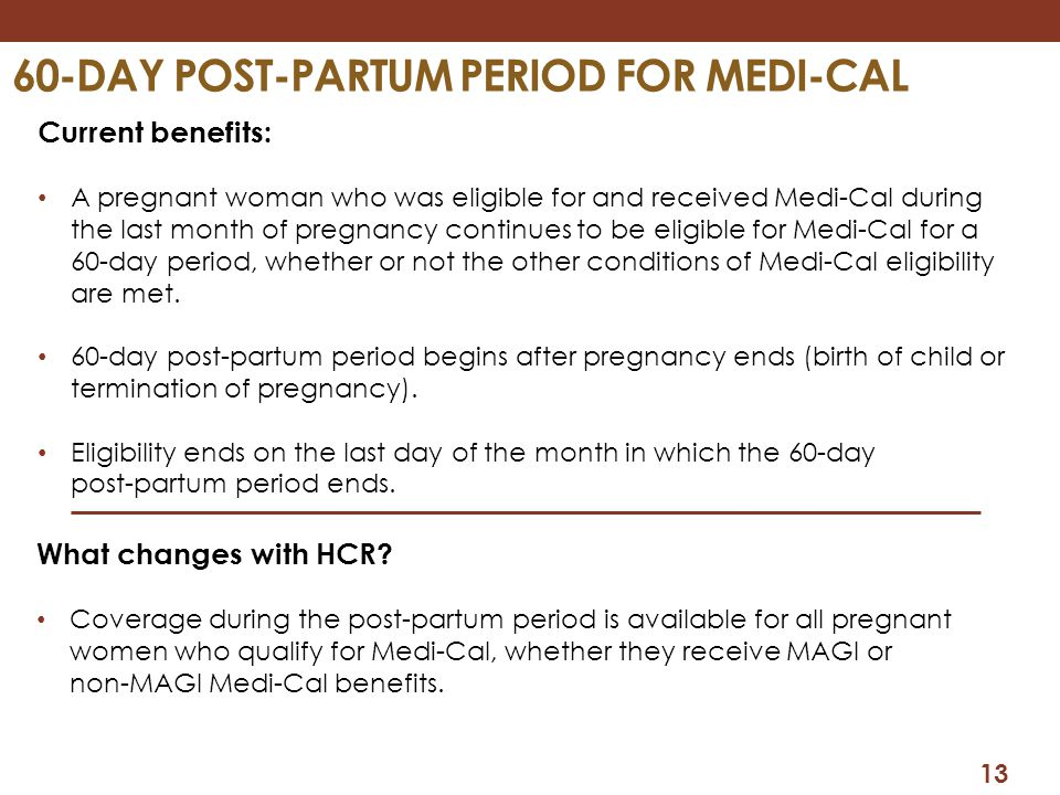 60-Day Post-partum period for medi-cal