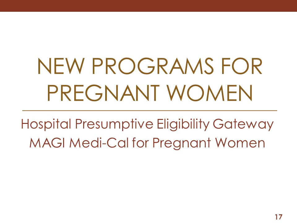 New PROGRAMS for pregnant women