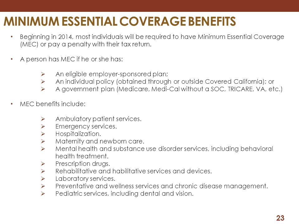 Minimum essential coverage benefits