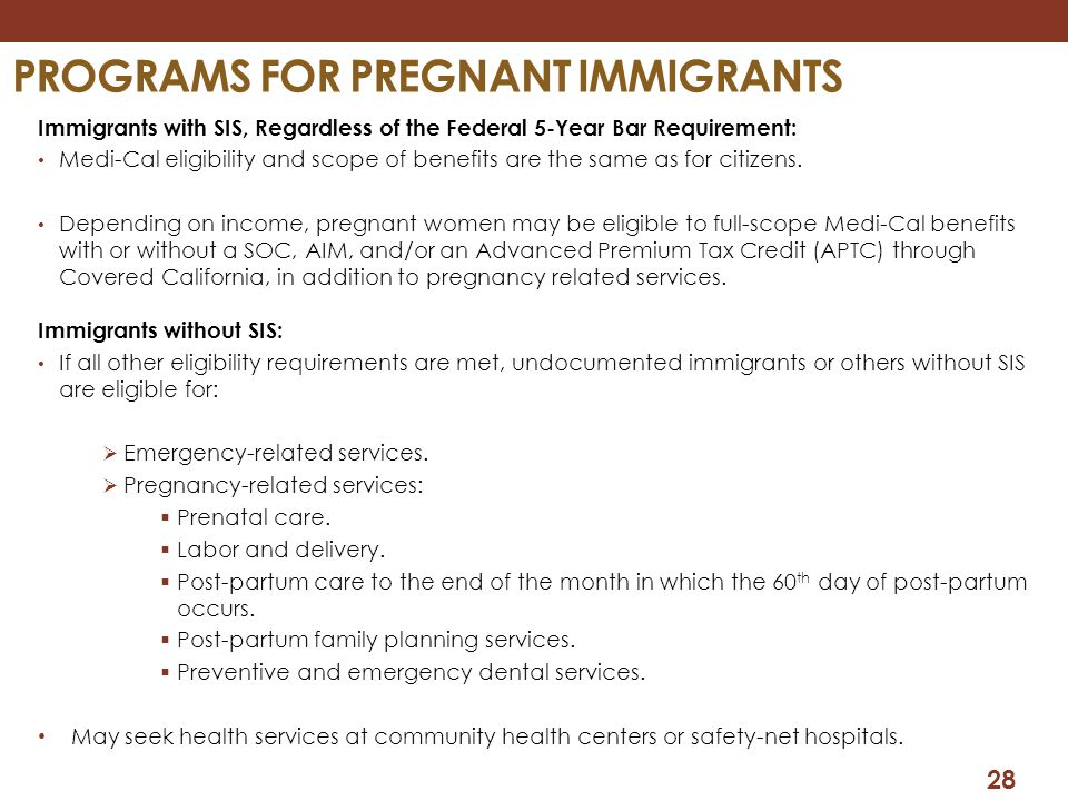Programs for pregnant immigrants