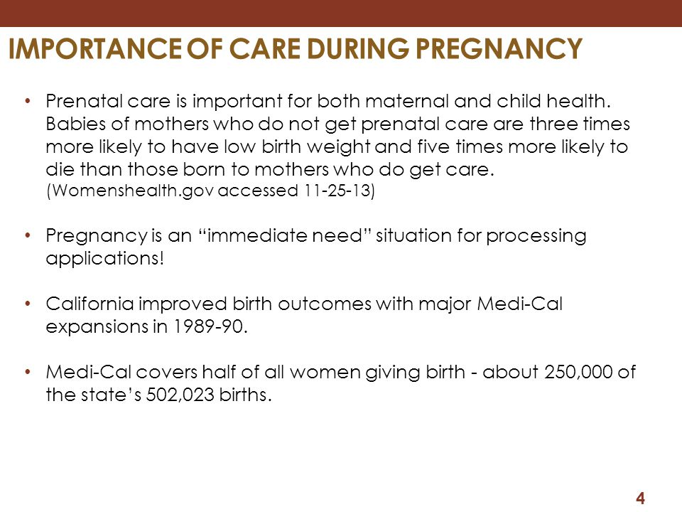 Importance of care during pregnancy