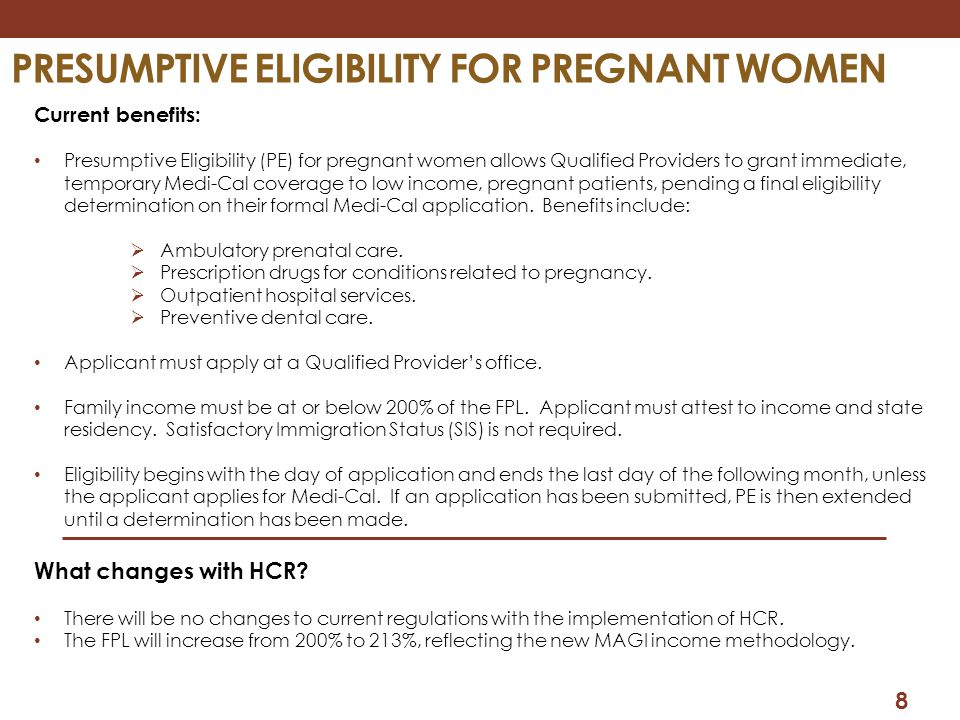 PRESUMPTIVE ELIGIBILITY FOR PREGNANT WOMEN