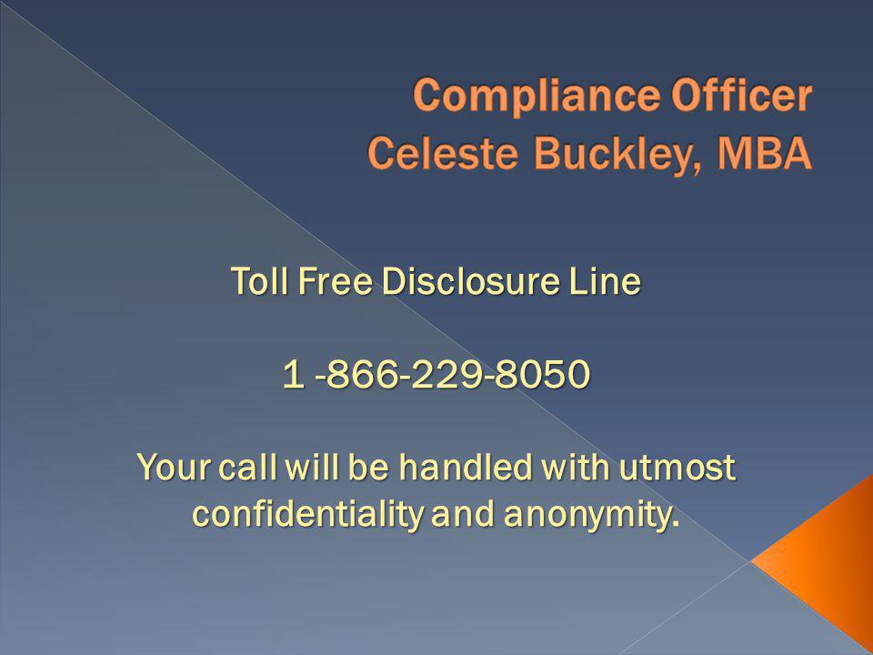 Compliance Questions Celeste Buckley..245-6957