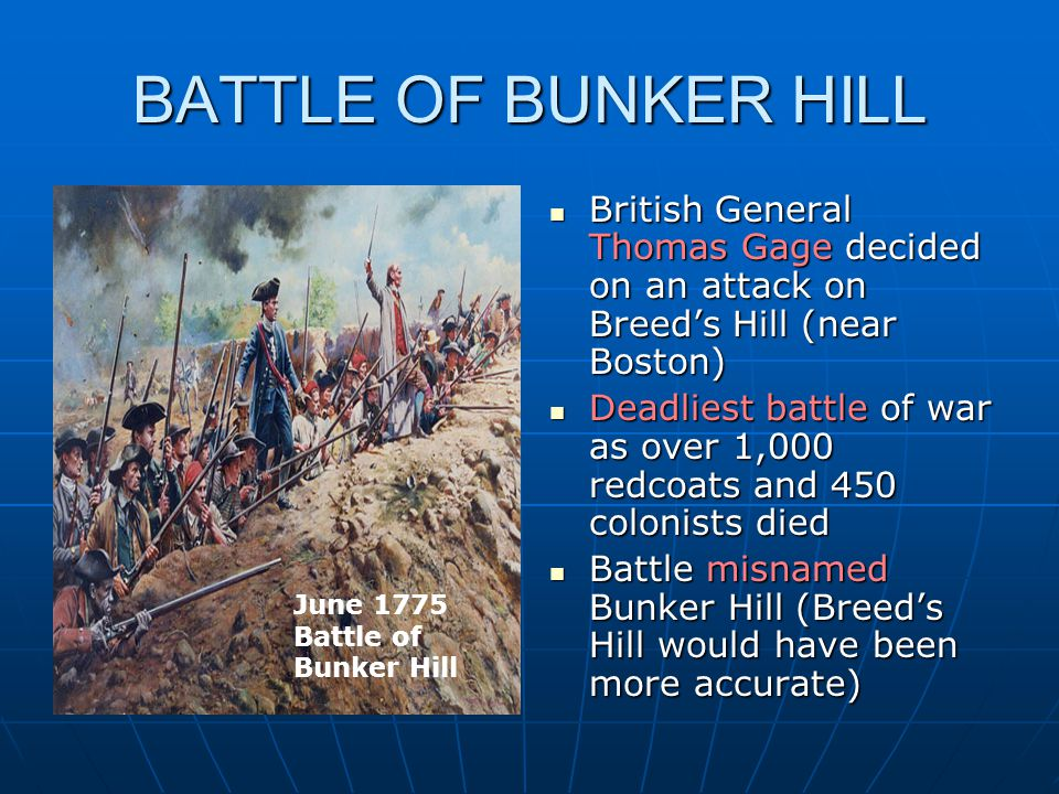 BATTLE OF BUNKER HILL British General Thomas Gage decided on an attack on Breed's Hill (near Boston)
