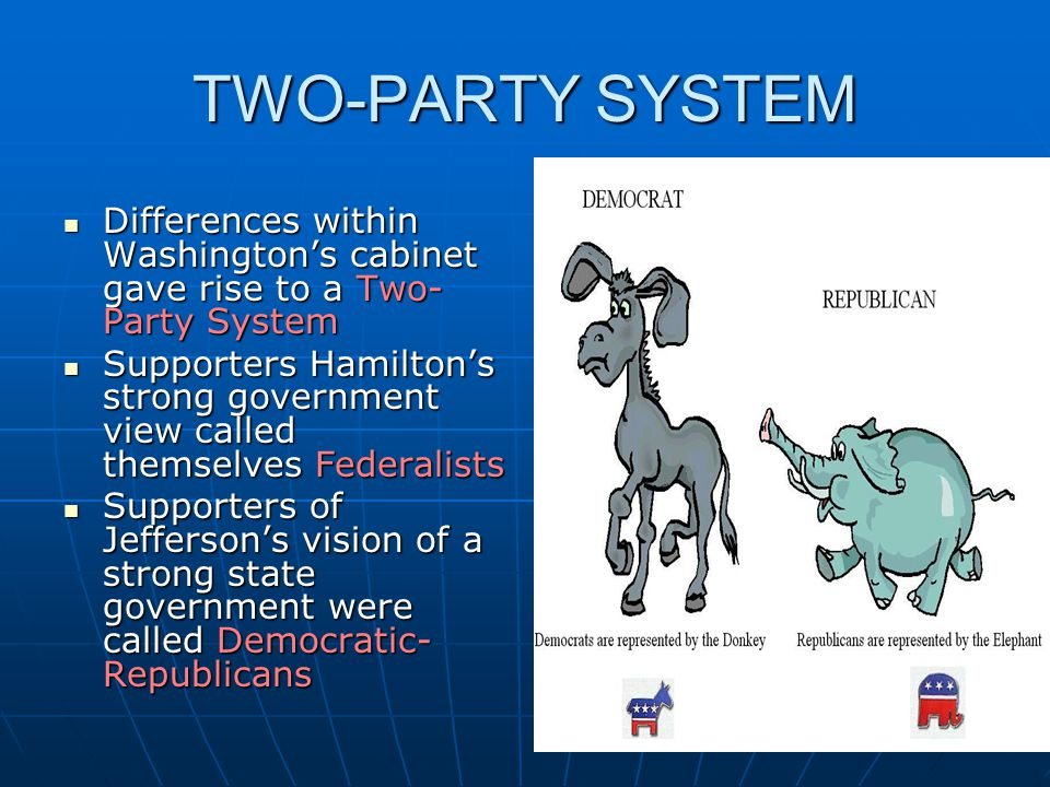 TWO-PARTY SYSTEM Differences within Washington's cabinet gave rise to a Two-Party System.