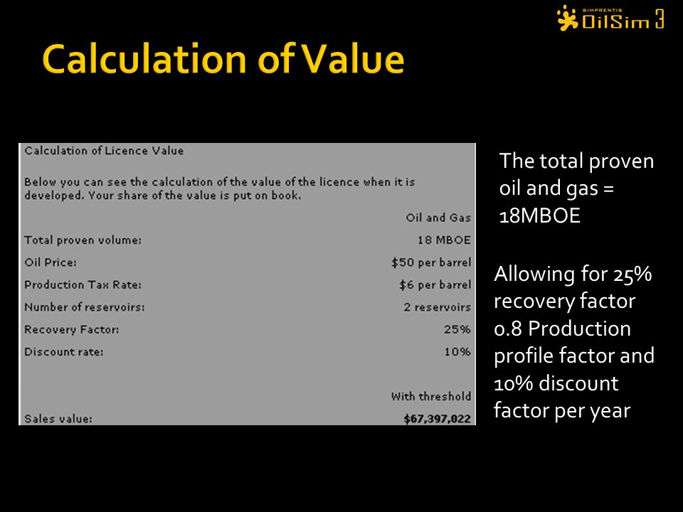 Calculation of Value The total proven oil and gas = 18MBOE