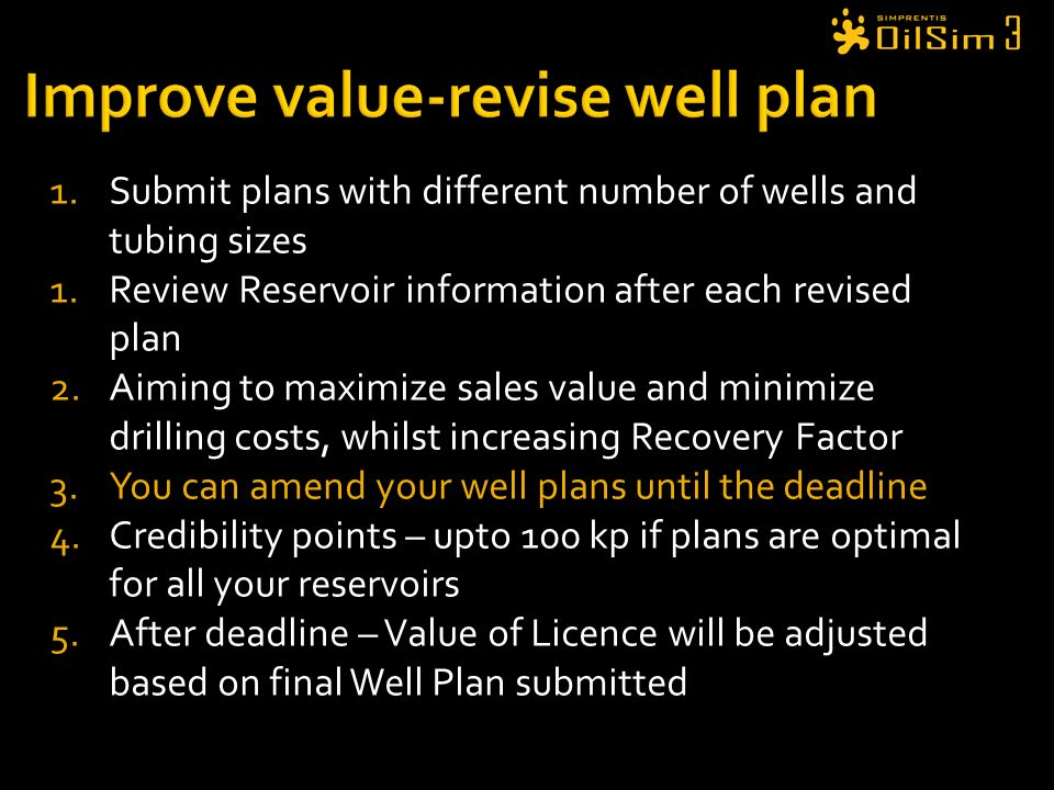Improve value-revise well plan