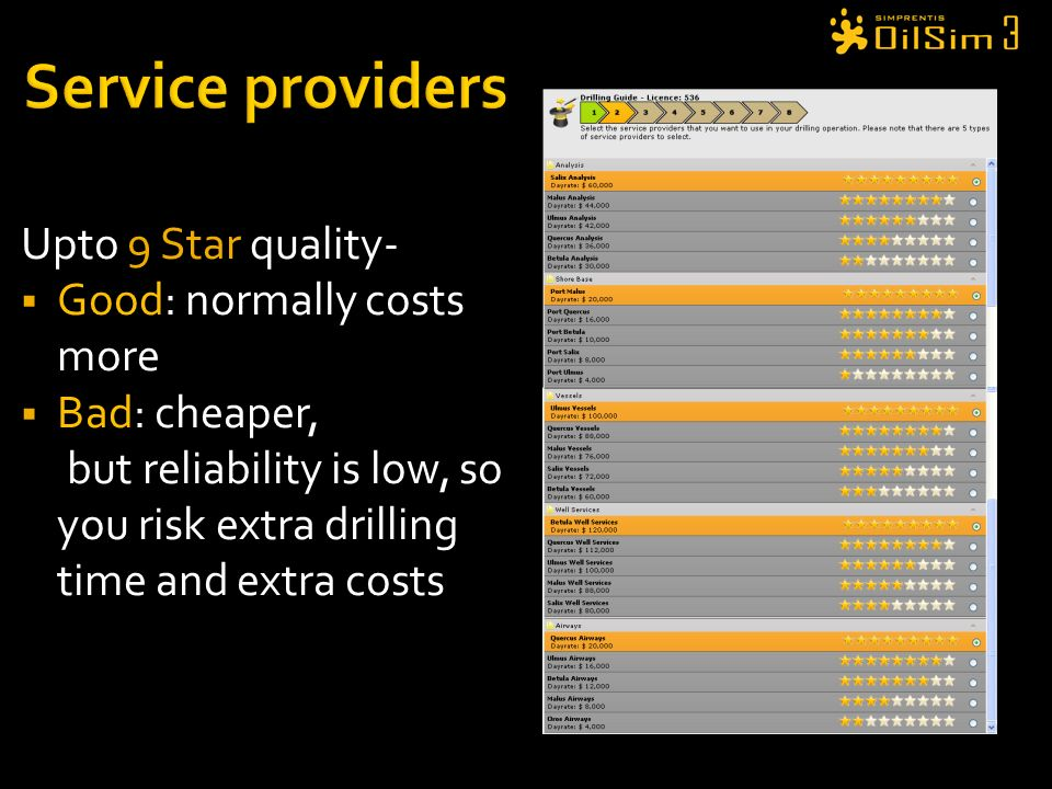 Service providers Upto 9 Star quality- Good: normally costs more