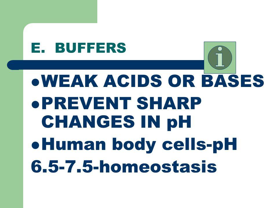 PREVENT SHARP CHANGES IN pH Human body cells-pH 6.5-7.5-homeostasis