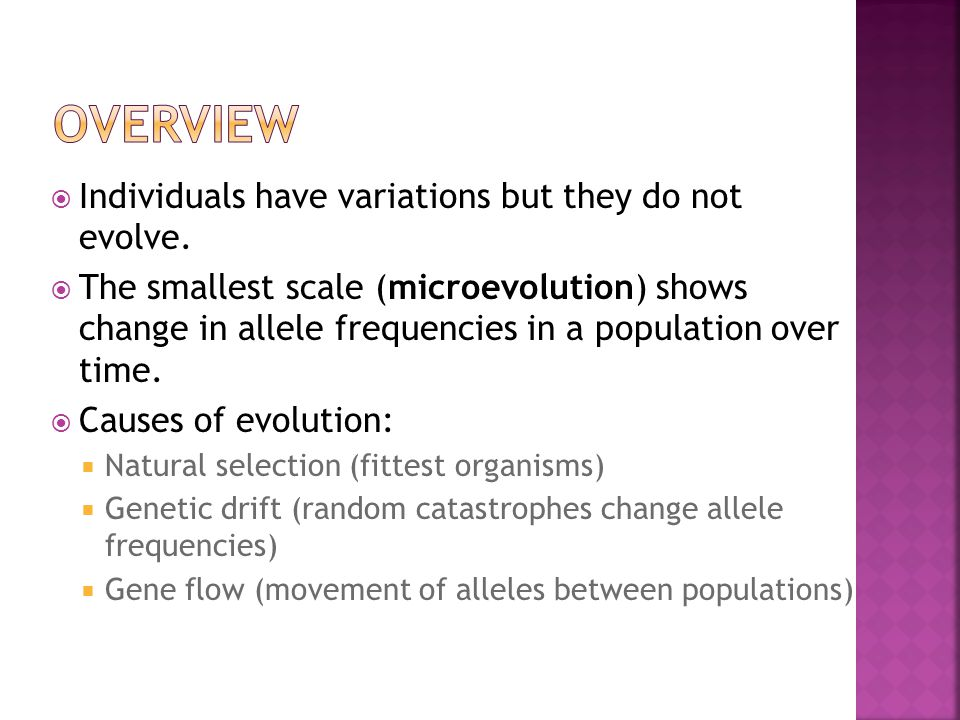 OVERVIEW Individuals have variations but they do not evolve.